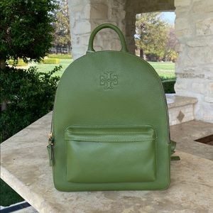 NWT Tory Burch Thea Large Backpack Leather spinach